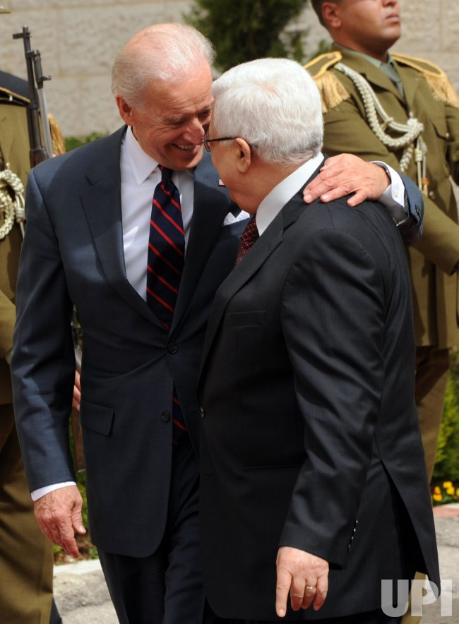 US Vice President Joe Biden greets Palestinian President Mahmoud Abbas in Ramallah, West Bank