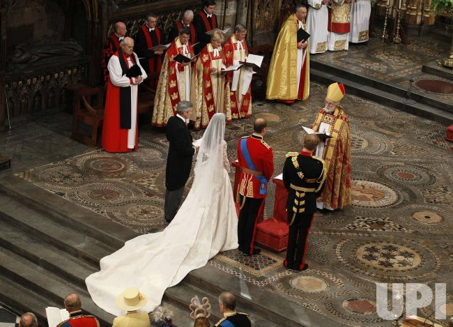The Archbishop of Canterbury conducts the Royal Wedding at Westminster Abbey in London