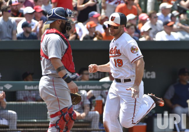 Orioles' Chris Davis scores in front of Red Sox catcher Sandy Leon in 1st inning