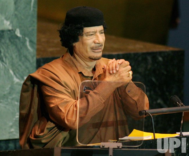 Libyan leader Moammer Gadhafi addresses General Assembly at United Nations
