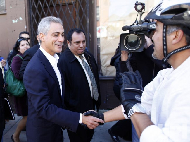 Emanuel walks through Chicago's Pilsen neighborhood