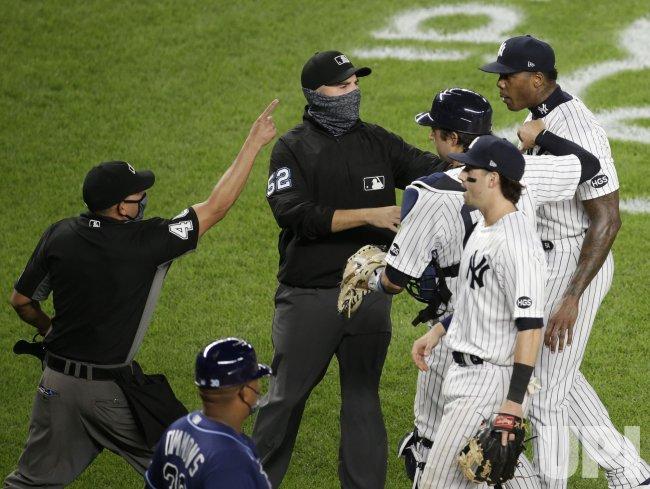 Yankees' Aroldis Chapman suspended 3 games for throwing at Rays' Mike Brosseau