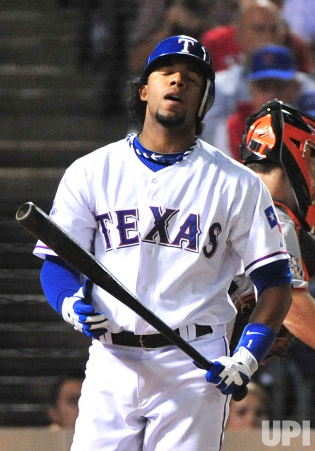 Rangers Elvis Andrus reacts after striking out in game 5 of the World Series in Texas