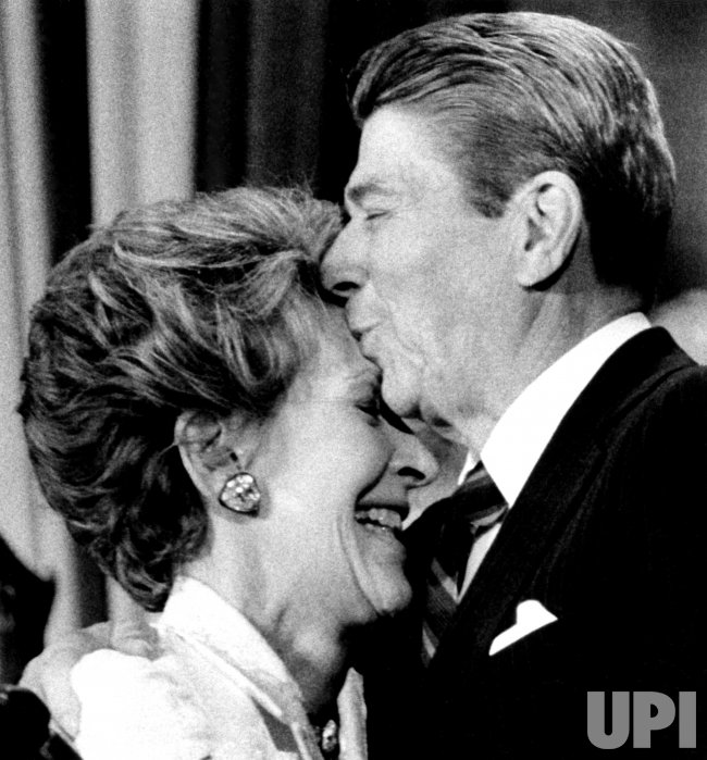 Ronald Reagan Kisses Wife Nancy on Forehead