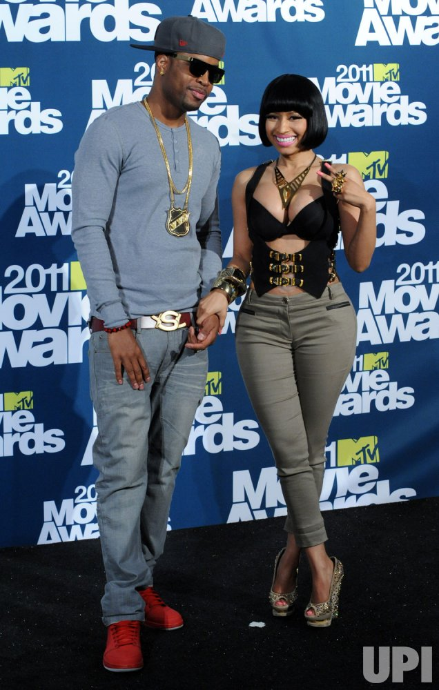 Nicki Minaj and Scaff Beezy appear backstage at the MTV Movie Awards in Los Angeles