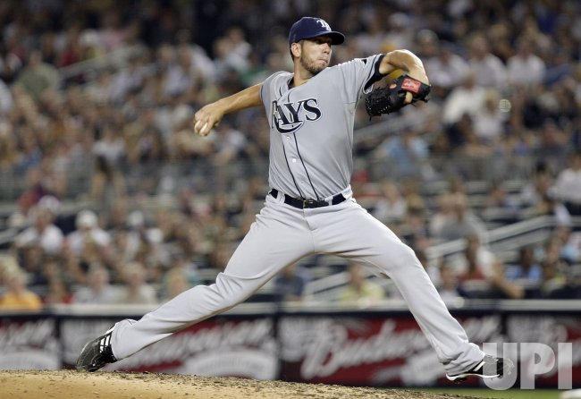 Tampa Bay Rays starting pitcher James Shields throws a pitch at Yankees Stadium in New York