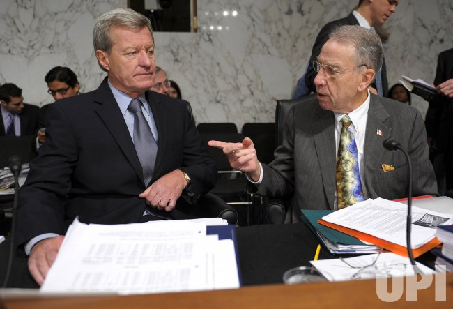 Sen. Max Baucus (D-MT) and Sen. Chuck Grassley (R-IA) participate in the Senate Finance Committee's mock up of the health care reform bill in Washington