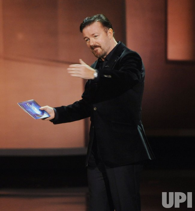 Ricky Gervais presents an award at the 62nd annual Primetime Emmy Awards in Los Angeles