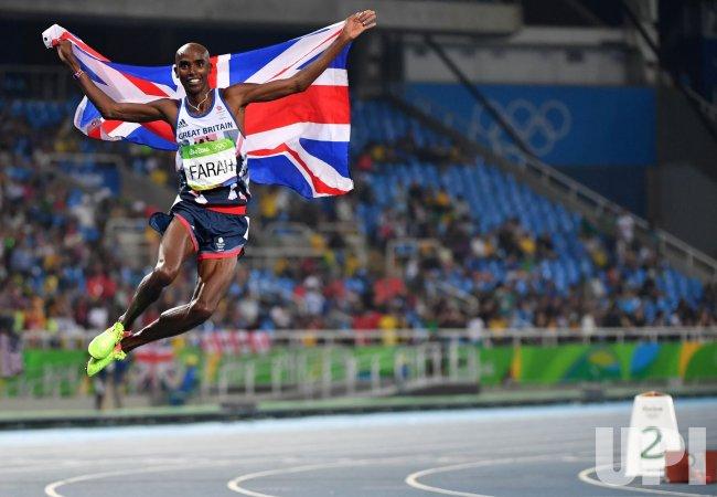 Mohamed Farah of Great Britain celebrates at Rio Olympics