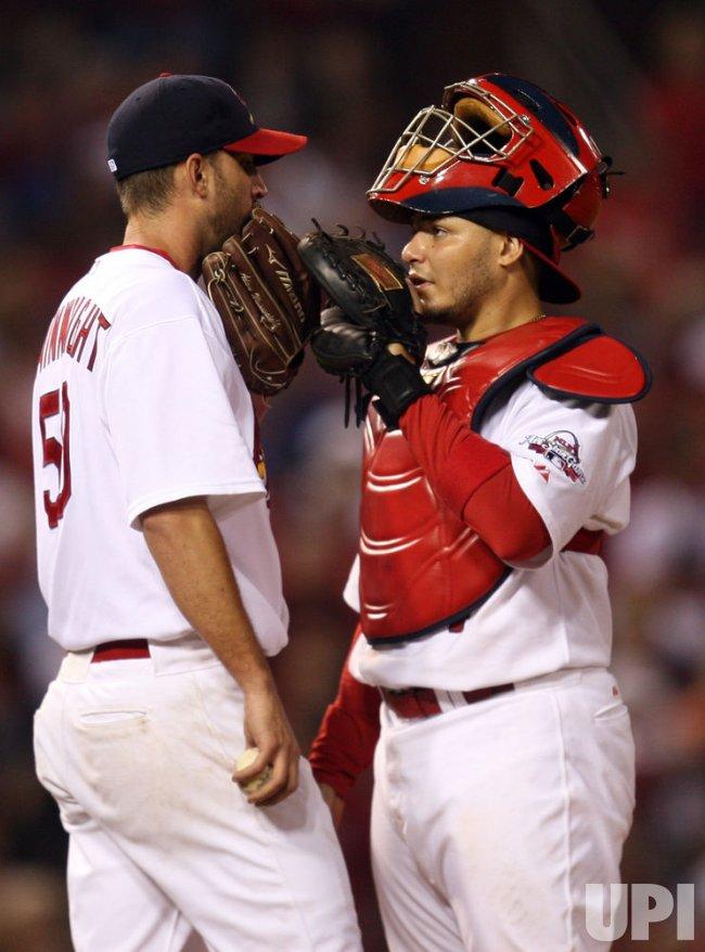 St. Louis Cardinals Adam Wainwright and catcher Yadier Molina