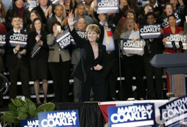 Democratic candidate for Massachusetts Senate seat Martha Coakley waves at rally.