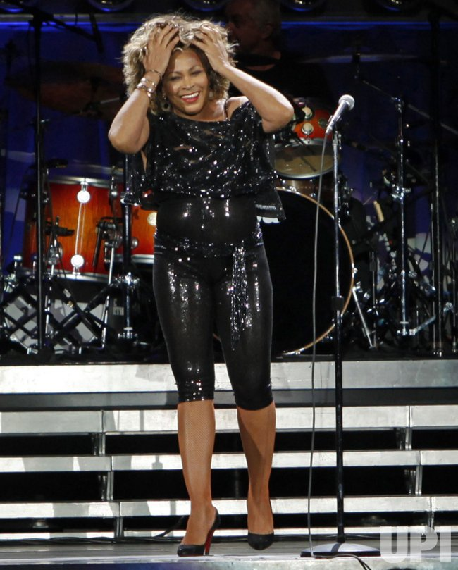 Tina Turner performs in concert in Paris