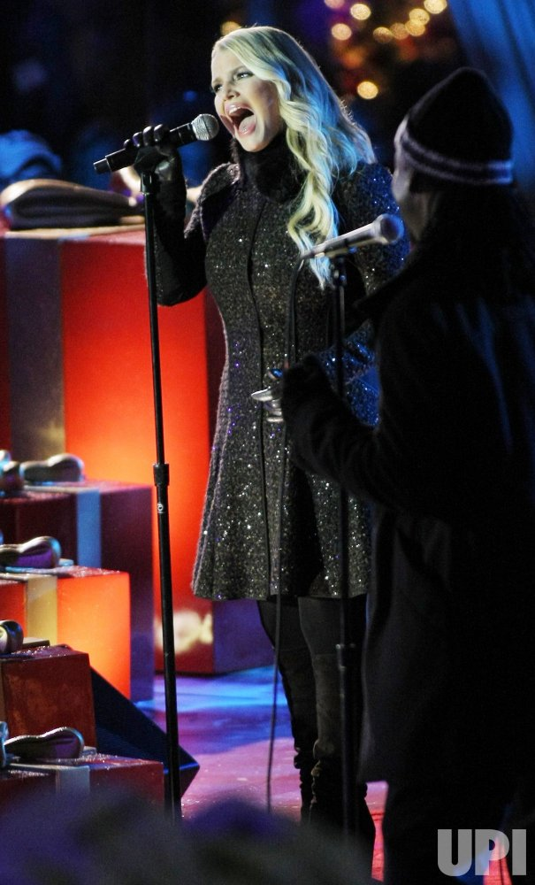 Jessica Simpson performs at Rockefeller Center Christmas tree lighting ceremony in New York