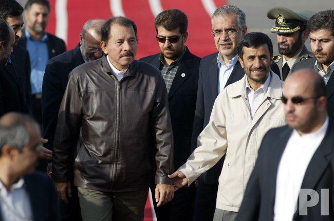 NICARAGUA'S PRESIDENT ORTEGA MEETS HIS IRANIAN COUNTERPART MAHMOUD AHMADINEJAD