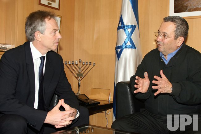 Israeli Defense Miniser Ehud Barak meets with Tony Blair in Tel Avivi