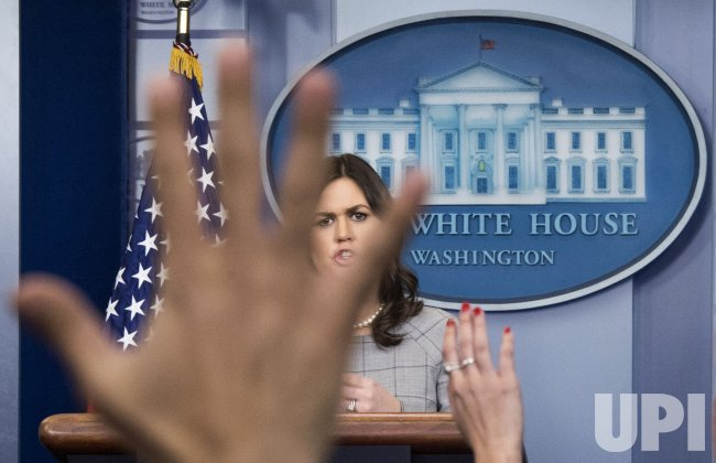 White House Press Secretary Sarah Huckabee Sanders holds the daily press briefing in Washington