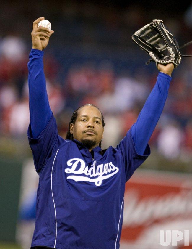 Dodger Manny Ramirez gestures during practice