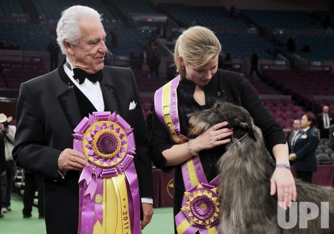 Hickory Wind, the Scottish Deerhound wins best in show at the135th Annual Westminster Kennel Club Dog Show in New York. .