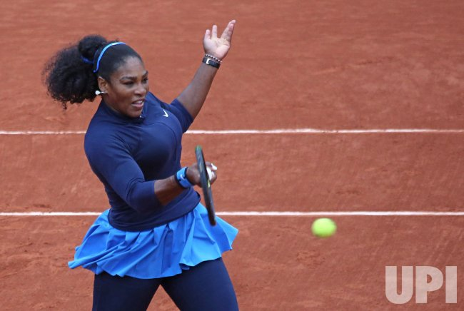 Serena Williams plays her quarterfinal match at the French Open