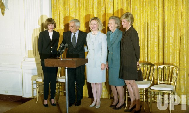 Lady Diana Spencer, Princess of Wales at White House with First lady Hillary Rodham Clinton.HILLARY CLINTON HOSTS WHITE HOUSE BREAKFAST FOR BREAST CANCER RESEARCH