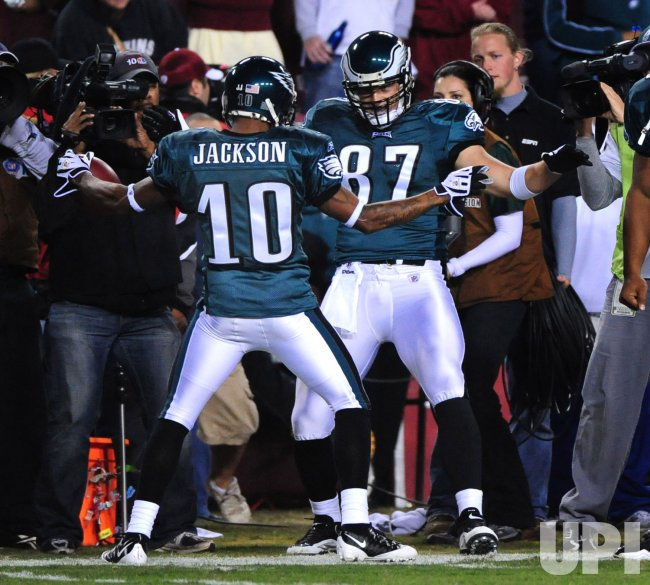 Eagles DeSean Jackson celebrates his touchdown in Washington