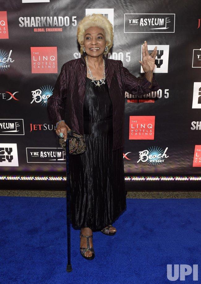 "Nichelle Nichols attends the ""Sharknado 5: Global Swarming"" premiere in Las Vegas"