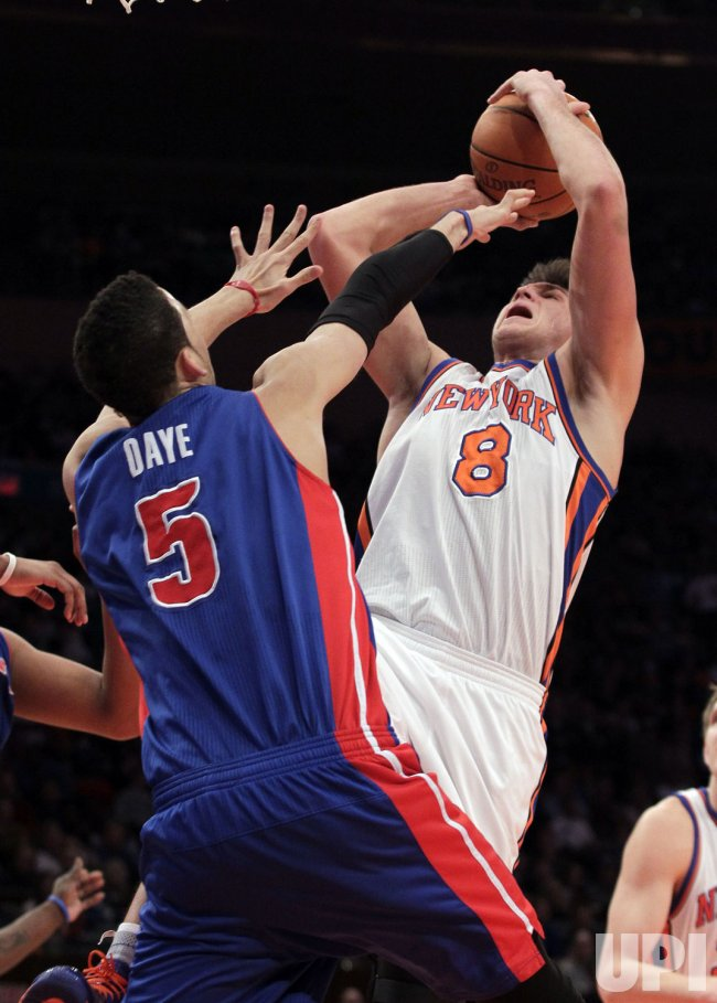 New York Knicks Danilo Gallinari shoots over Detroit Pistons Austin Daye at Madison Square Garden in New York