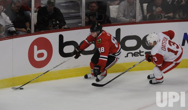 Blackhawks Patrick Kane and Red Wings Pavel Datsyuk in Chicago