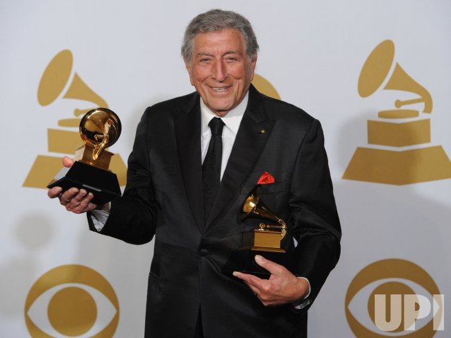 Tony Bennett appears backstage with the Grammy Awards he won in Los Angeles