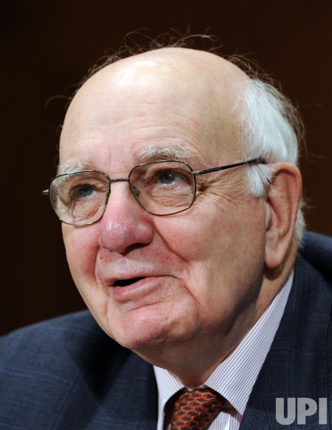 Volcker testifies before Senate committee on financial regulations in Washington