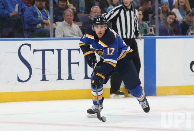 St. Louis Blues Jaden Schwartz looks to pass the puck
