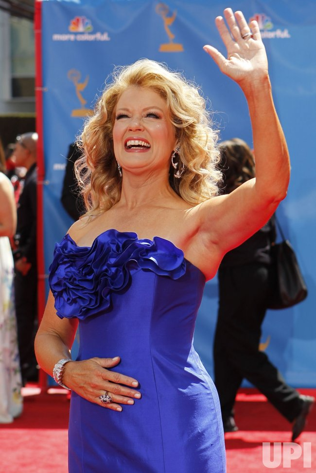 Mary Hart arrives at the 62nd Primetime Emmy Awards at the Nokia Theatre in Los Angeles