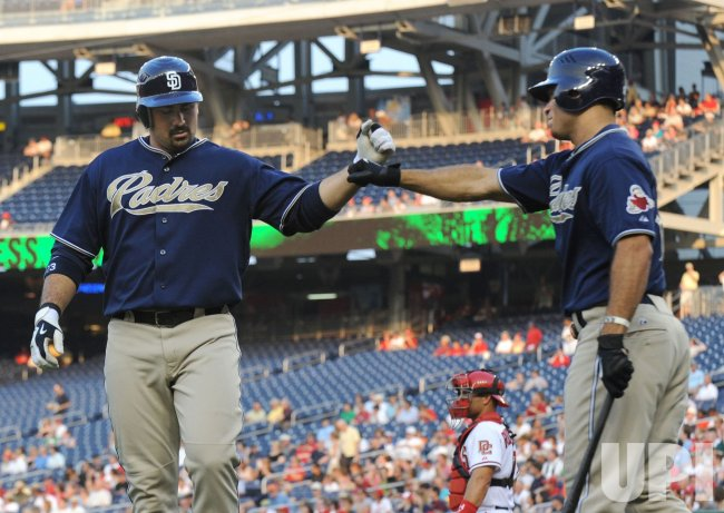 Padres' Adrian Gonzalez connects for a homerun in Washington