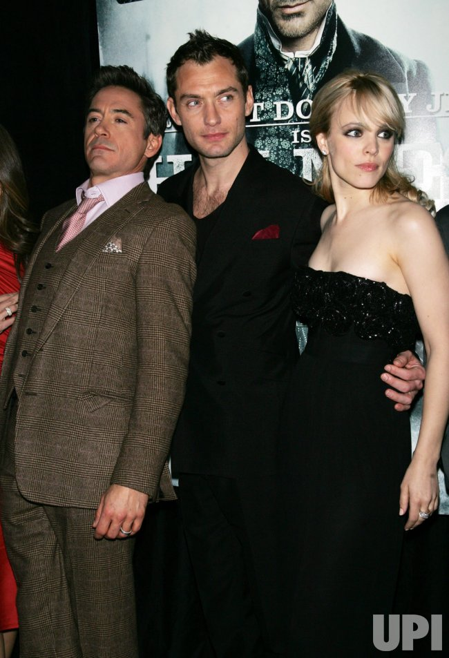 "Robert Downey Jr., Jude Law and Rachel McAdams arrive for the ""Sherlock Holmes"" Premiere in New York"