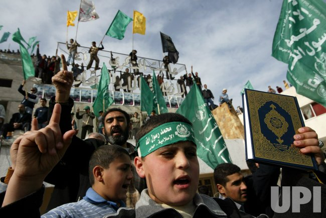 HAMAS RALLY AGAINST PROPHET MOHAMMAD'S OFFENSIVE CARTOONS.
