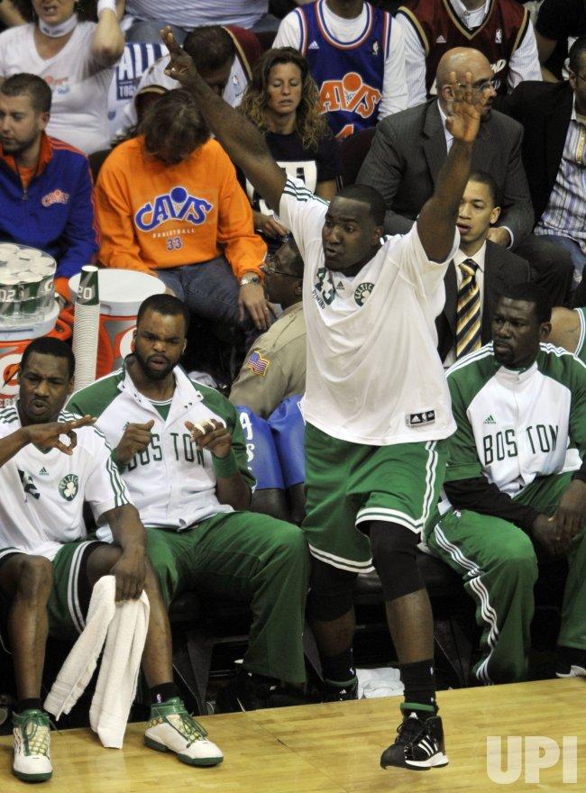 Celtics Kendrick celebrates against Cavaliers in Cleveland