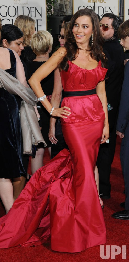 Sofia Vergara arrives at the 68th annual Golden Globe Awards in Beverly Hills, California