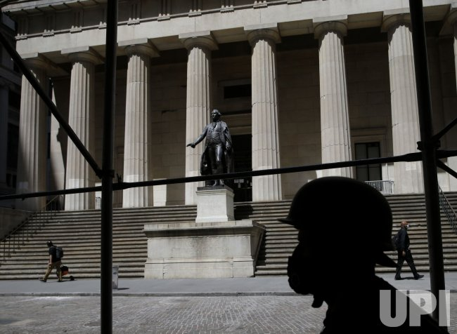 Statue of George Washington Guarded at Federal Hall in New York