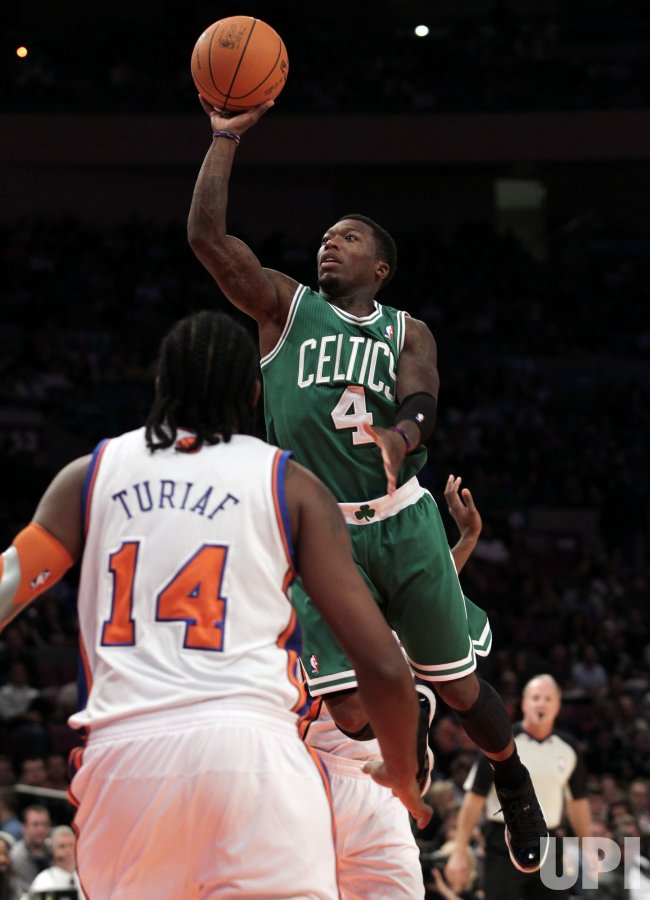 Boston Celtics Nate Robinson drives to the basket at Madison Square Garden in New York