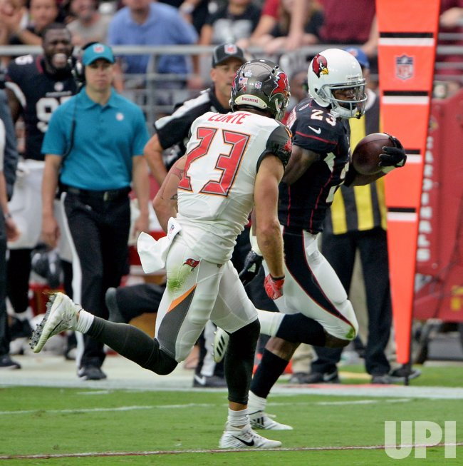 Cardinals' Peterson breaks free for a first down