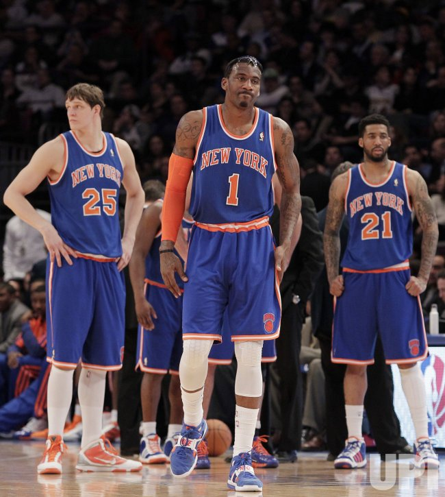 New York Knicks Timofey Mozgov, Amar'e Stoudemire and Wilson Chandler at Madison Square Garden in New York