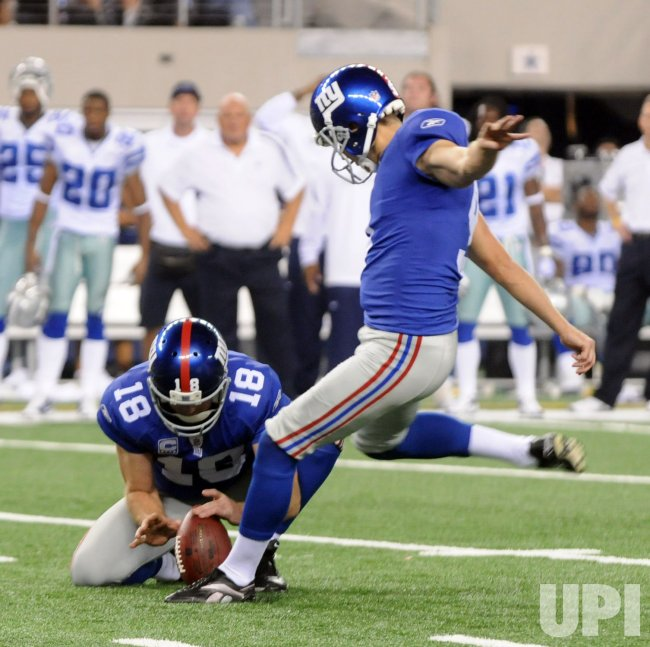Dallas Cowboys, New York Giants play first game in new Cowboys Stadium.