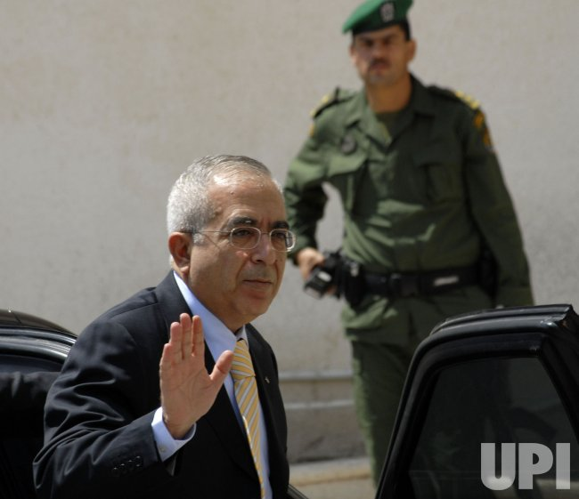 PALESTINIAN PRIME MINISTER SALAM FAYYAD ARRIVES AT THE PRESIDENTIAL COMPOUND IN RAMALLAH