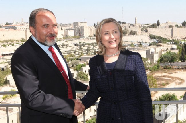 Sec. State Clinton meets with Israeli Foreign Minister Lieberman in Jerusalem