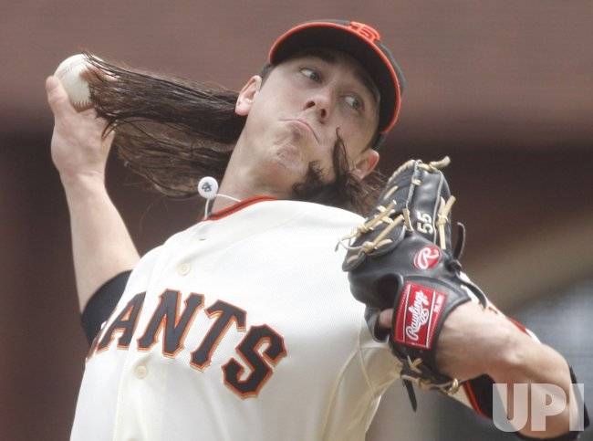 Giants Tim Lincecum throws to the Philadelphia Phillies in San Francisco
