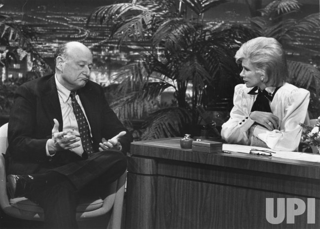 "New York Mayor Ed Koch talks with guest hostess Joan Rivers on ""The Tonight Show"""