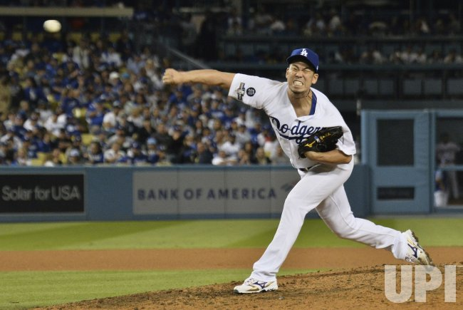 Maeda pitches in MLB National League Division Series Nationals at Dodgers in Los Angeles