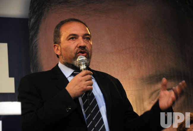 Israel's Yisrael Beiteinu Party leader Avigdor Lieberman speaks to his supporters in Jerusalem after winning 15 mandates in the national election