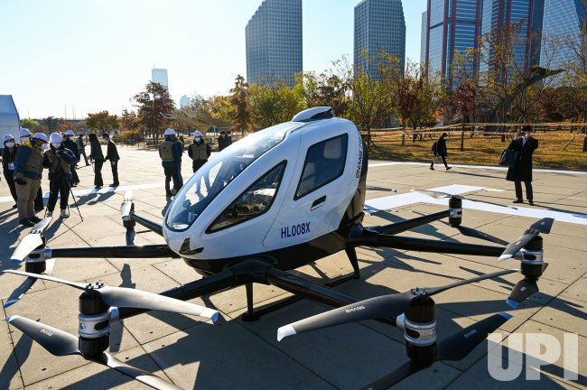 A Drone Taxi Waits for Takeoff in Seoul