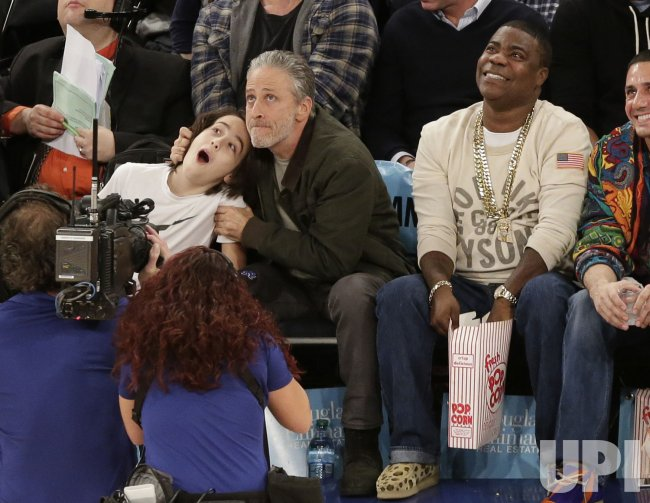 Toyota Of Stuart >> Jon Stewart and son Nathan Thomas Stewart watch the Knicks ...